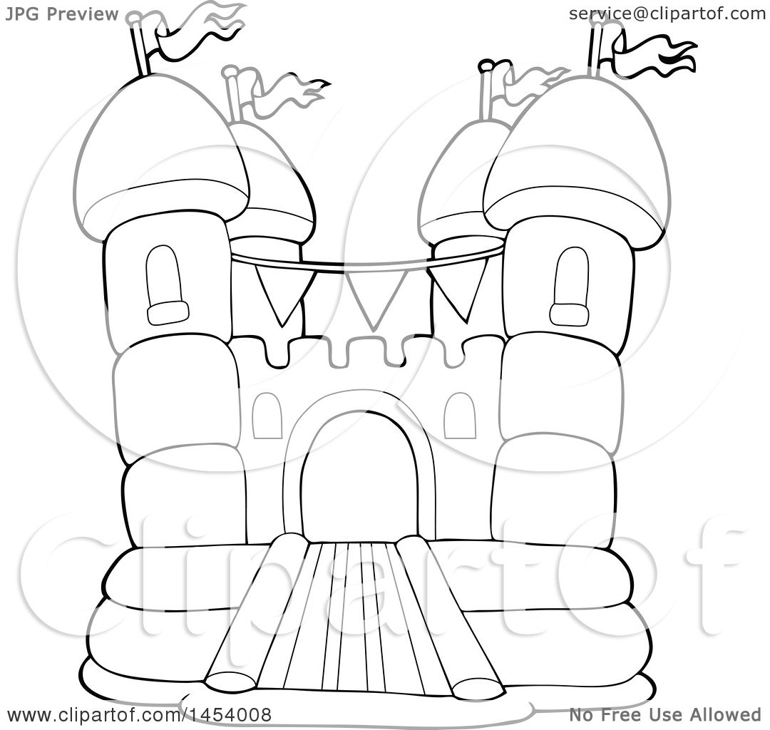 1080x1024 Clipart Of A Black And White Lineart Bouncy House Castle