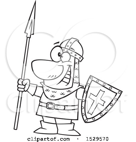 450x470 Clipart Of Cartoon Blacknd White Male Castle Guard Holding