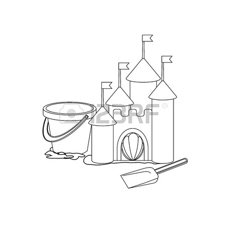 450x450 Coloring Book Cartoon Sand Castle Royalty Free Cliparts, Vectors