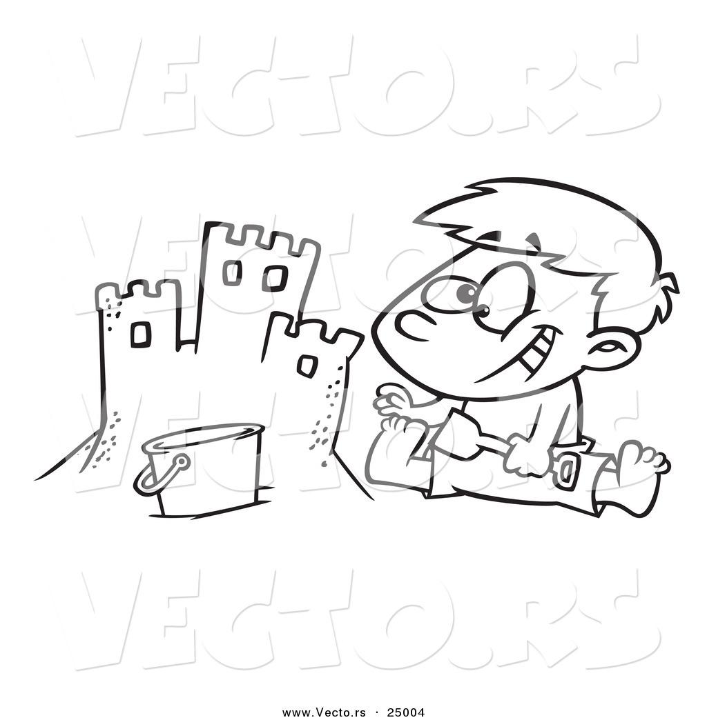 1024x1044 Vector Of A Cartoon Boy Making A Sand Castle On A Beach