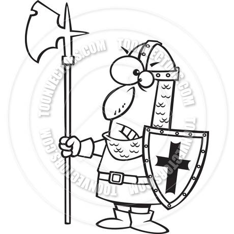 460x460 Cartoon Castle Guard (Black And White Line Art) By Ron Leishman
