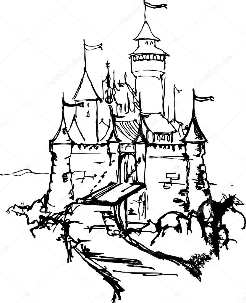 832x1023 Cartoon Hand Drawing Castle Stock Vector Medvedka