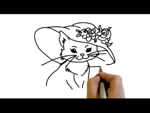 480x360 Drawing Of Beautiful Cat With Hat And Flowers How To Draw Yzarts