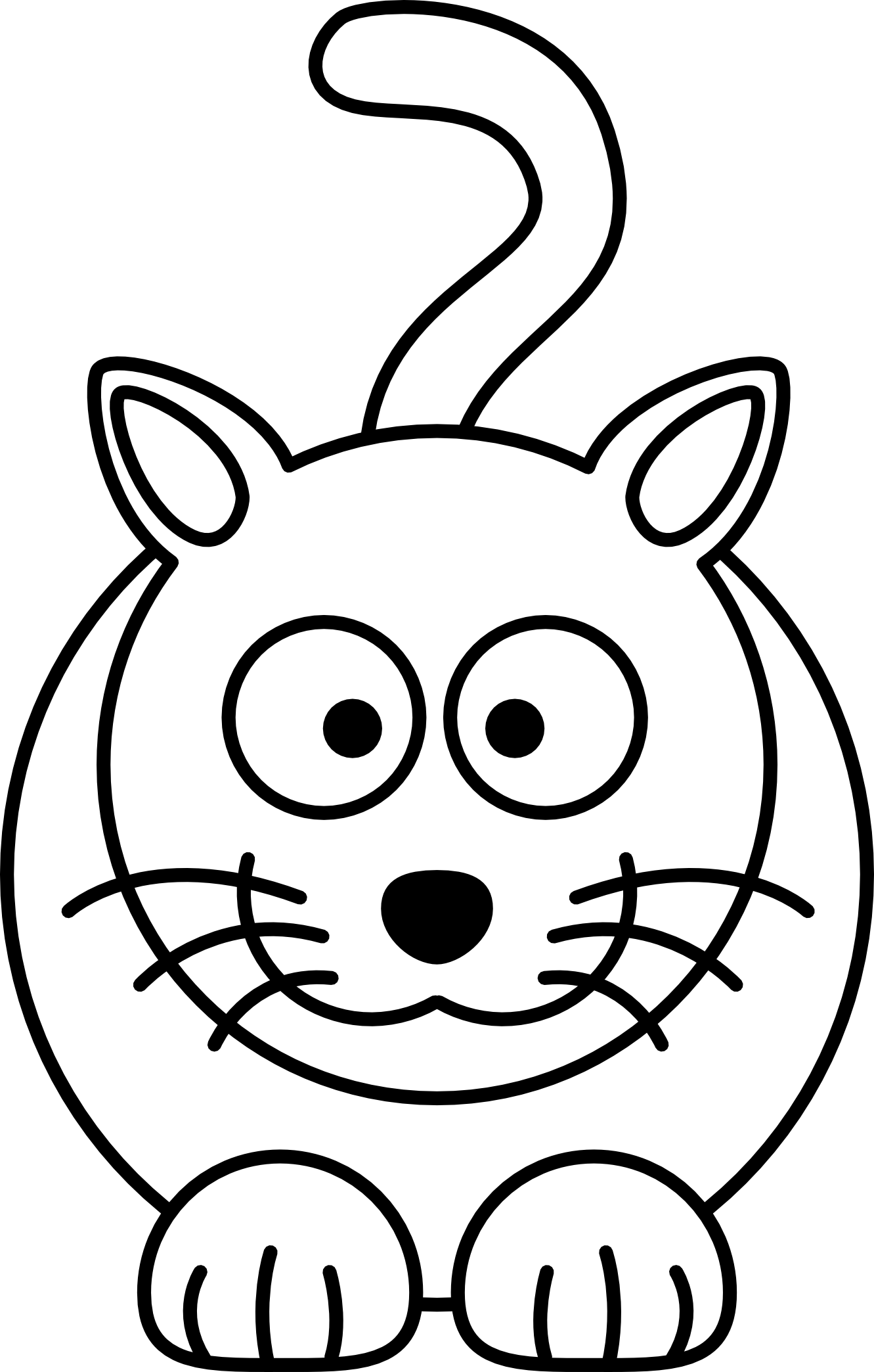 1331x2088 Lemmling Cartoon Cat Black White Line Art Coloring Book Colouring