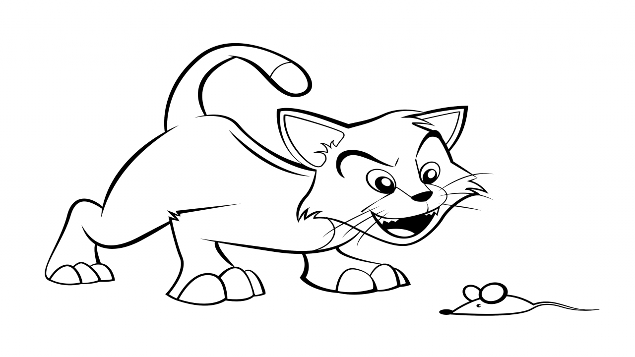1280x720 Cartoon Cat Coloring Page