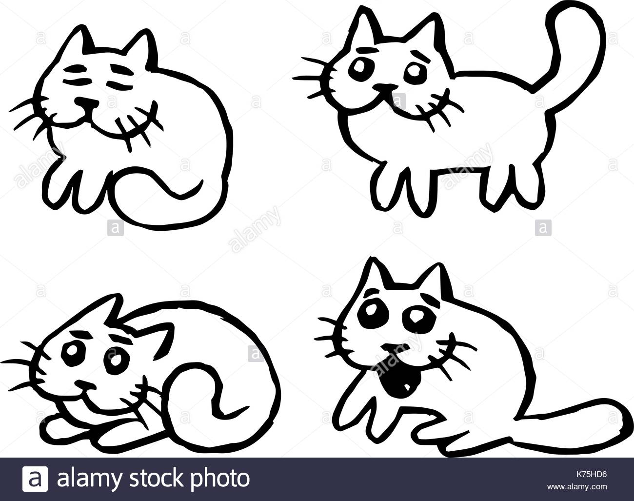 1300x1027 Cute Cats Emoticons Set. Funny Cartoon Cool Character. Contour