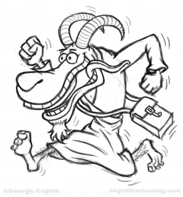 640x688 Goat Man Cartoon Character Sketch