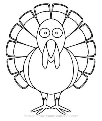 350x412 Drawing A Turkey Cartoon