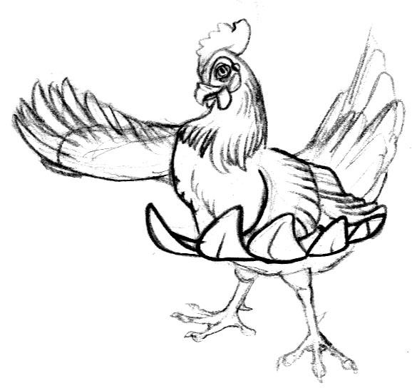 578x544 Old Chicken Cartoon Sketch By Blackunigryphon