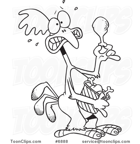581x600 Cartoon Blacknd White Line Drawing Of Scared Chicken Holding