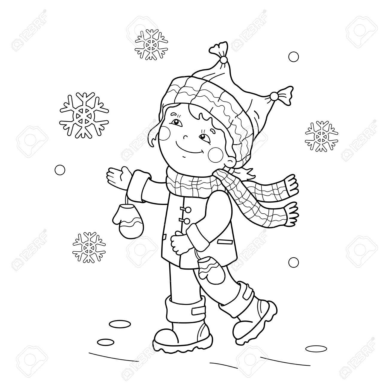 Boy Feeding Birds Winter 1300x1300 Coloring Page Outline Of Cartoon Girl Rejoicing In The First
