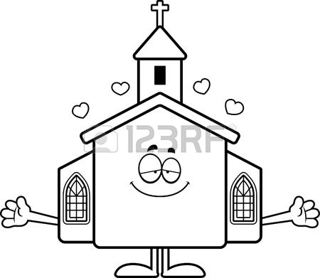 450x391 A Cartoon Illustration Of A Church Ready To Give A Hug. Royalty