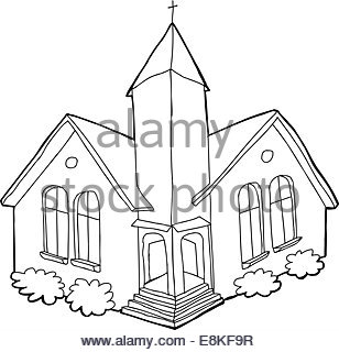 308x320 Isolated Cartoon Church Outline Over White Background Stock Photo
