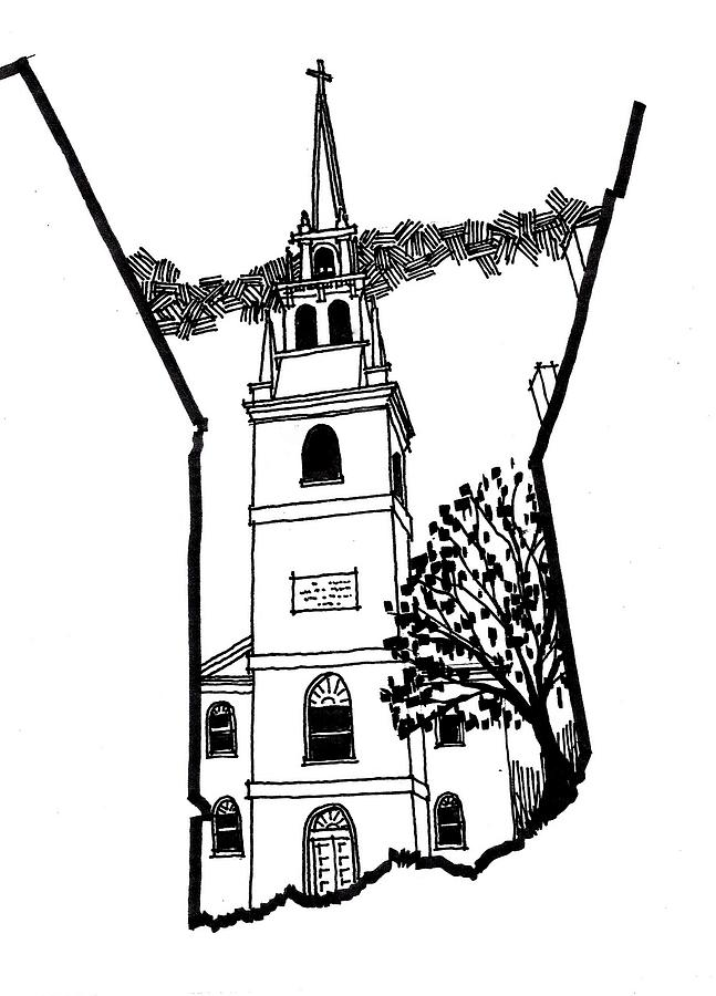 647x900 Old North Church Drawing By Rich Brumfield