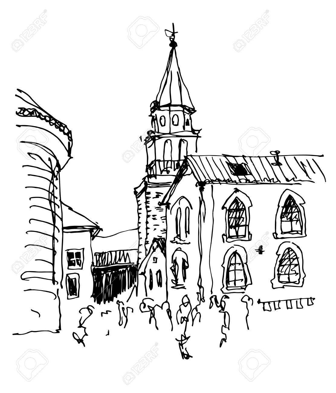 1112x1300 Sketch Drawing Of The Bell Tower Church Top View In Old Town