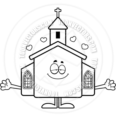 460x460 Cartoon Church Hug (Black And White Line Art) By Cory Thoman