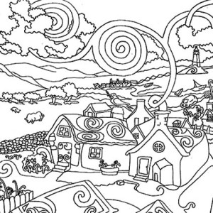 300x300 Cartoon City Skyline Coloring Page Cartoon City Skyline Coloring