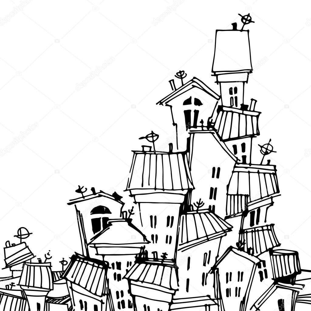 1024x1024 Cartoon Black And White City Card Stock Vector O.ta
