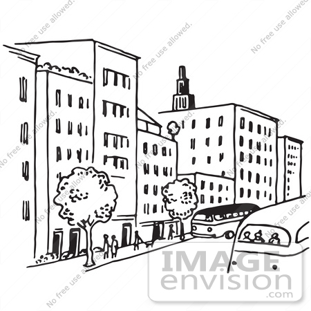 450x450 Clipart Of A City Street In Black And White