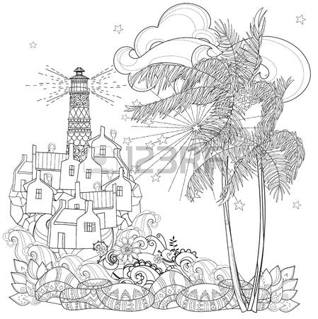 449x450 Hand Drawn Doodle Outline Palm Tree, Fairy Cartoon City