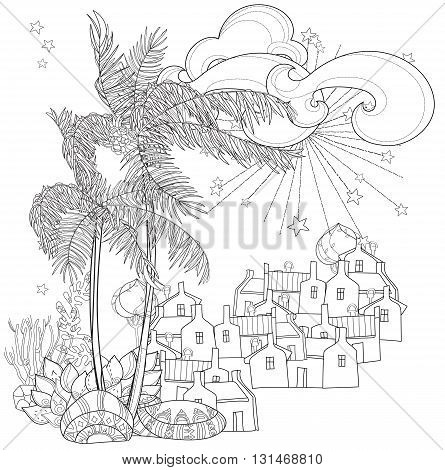 445x470 Hand Drawn Doodle Outline Palm Vector Amp Photo Bigstock