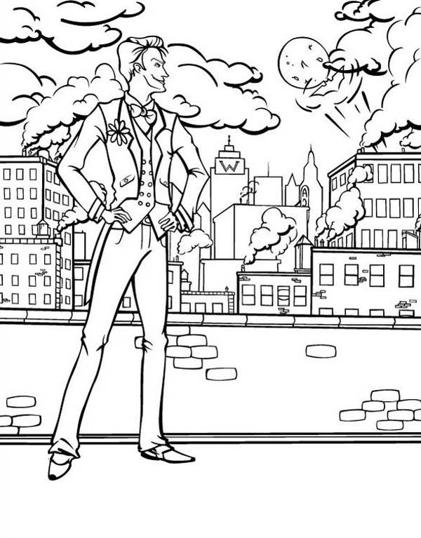 600x767 Joker Watching Gotham City Coloring Page