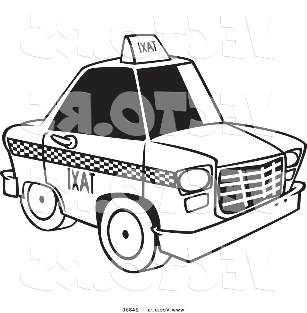 1024x1044 Best Free Vector Of Cartoon City Taxi Cab Outlined Coloring Page