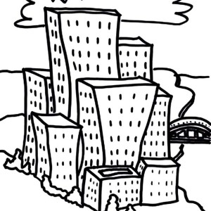 300x300 Sketch House Apartment Coloring Pages, Cartoon Apartment Buildings