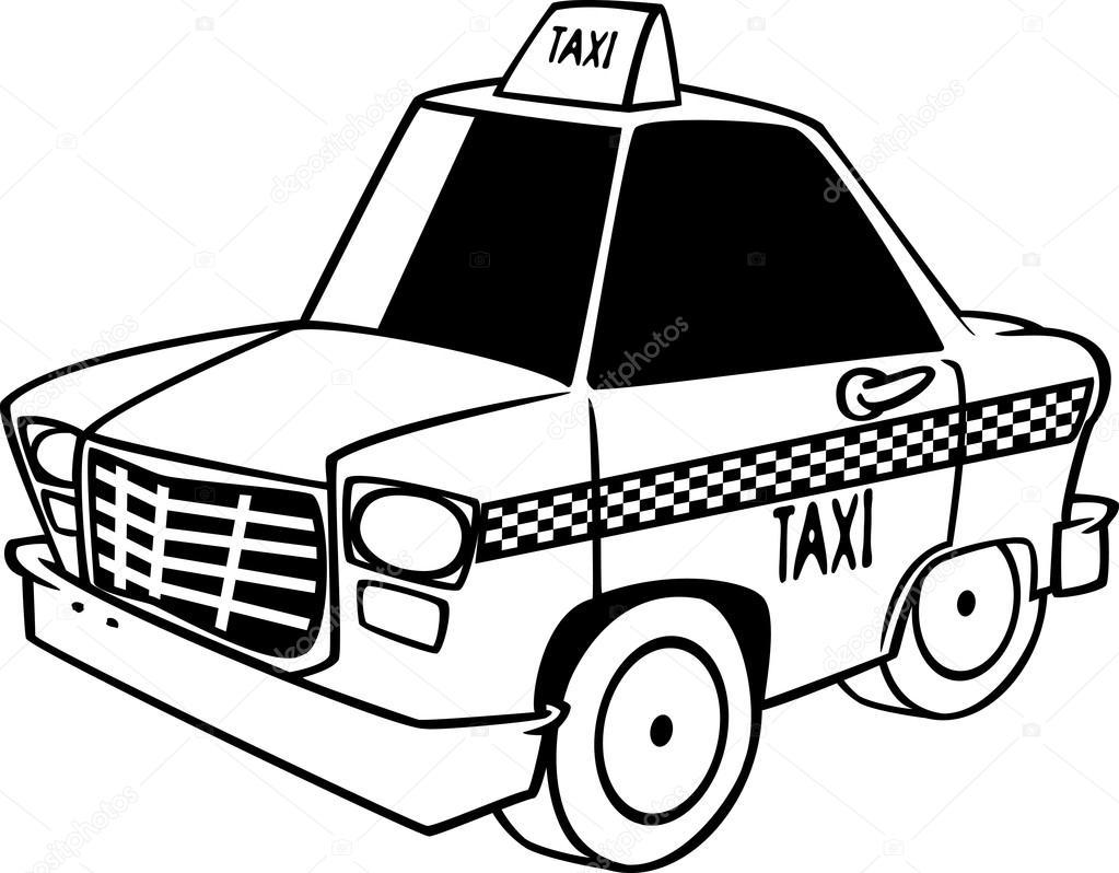 1023x798 Vector Of A Cartoon City Taxi Cab
