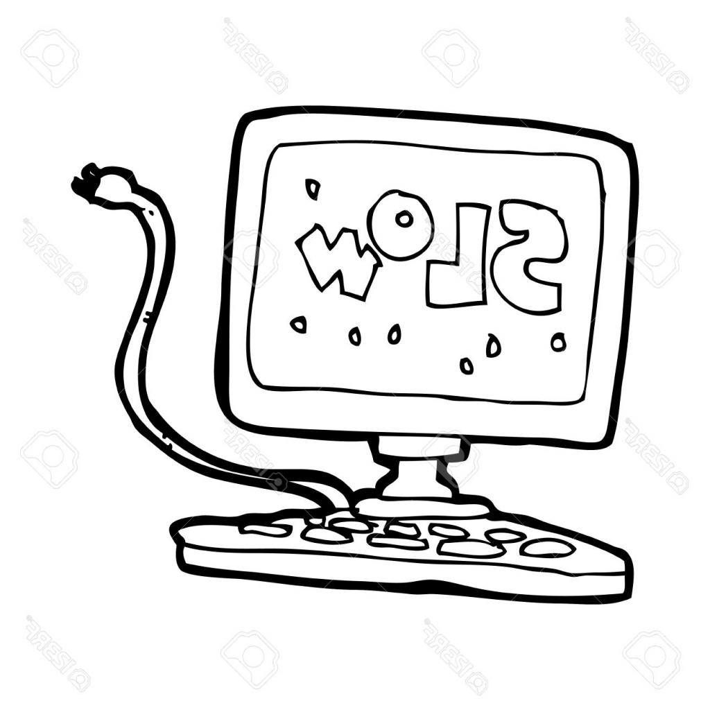 1024x1024 Computer Cartoon Drawing Cartoon Slow Computer Stock Photos