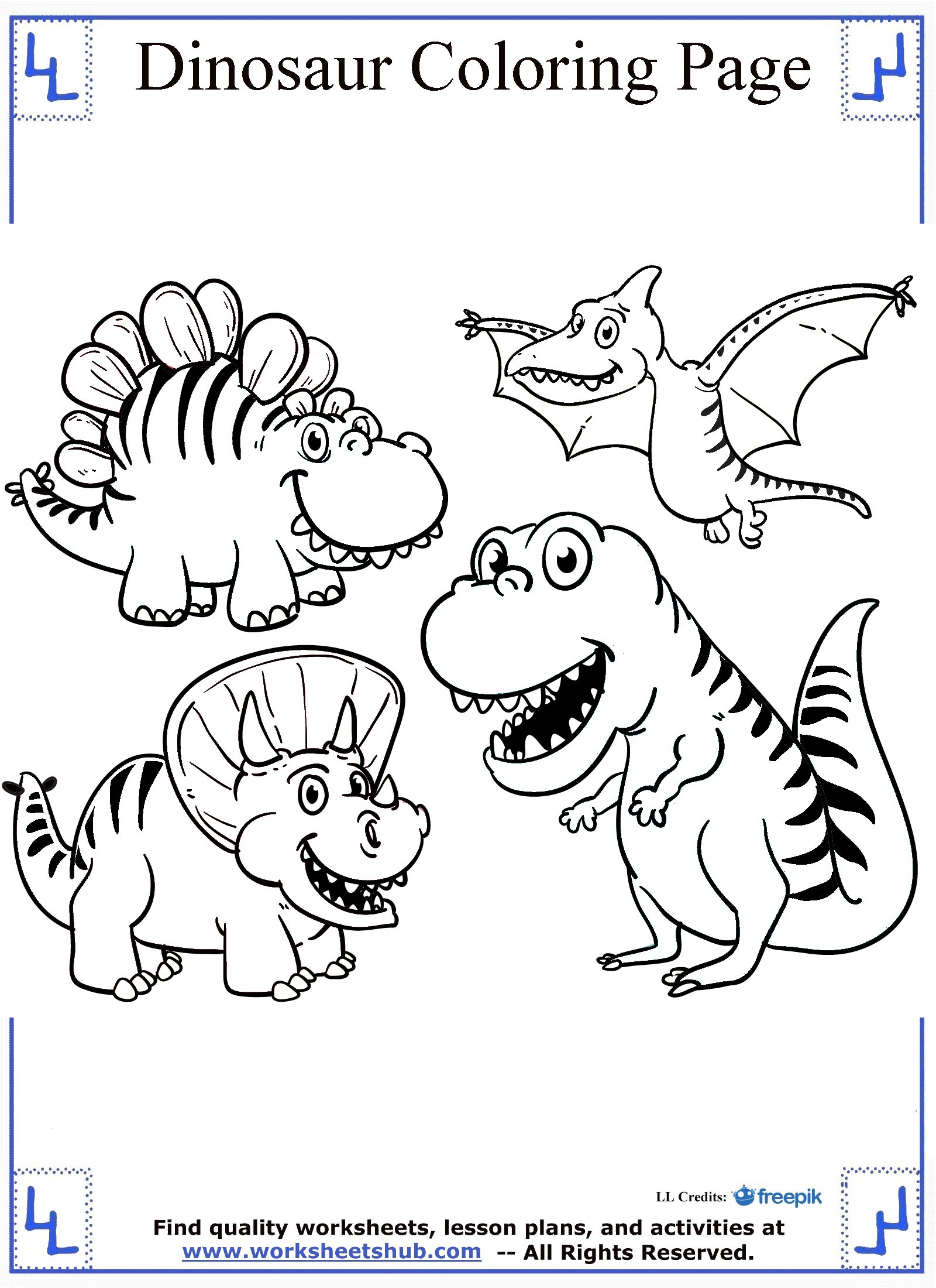 1600x2200 Cartoon Dinosaurs Coloring Page Dinosaur Pages And Color