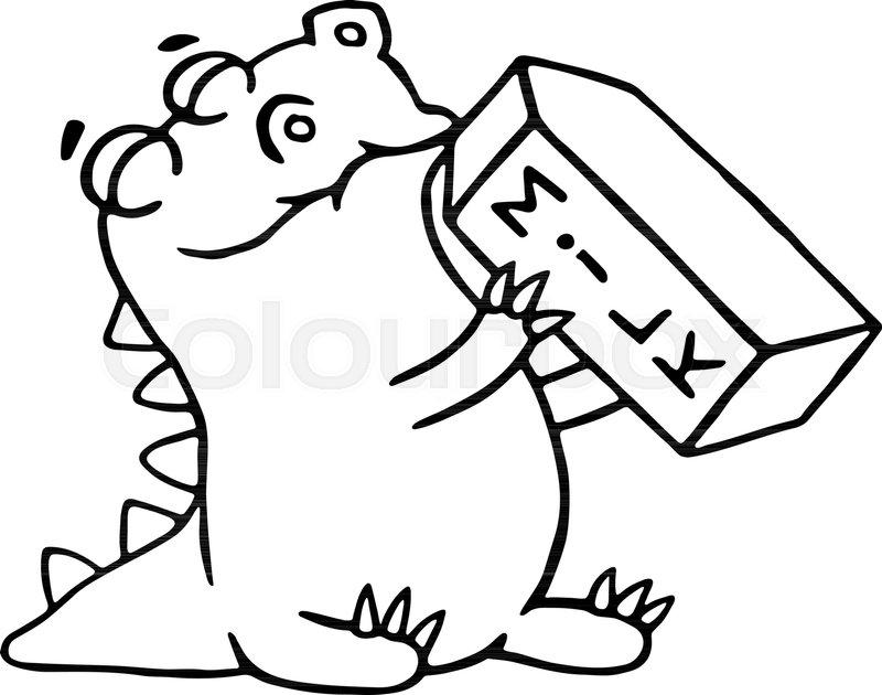 800x630 Cartoon Dinosaur Is Drinking Milk. Funny Cool Character. Contour