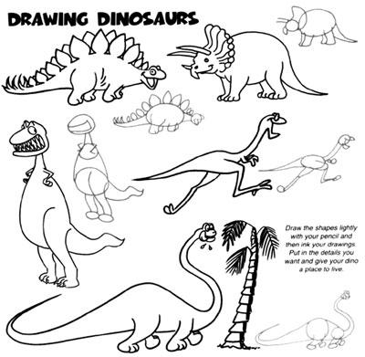 400x391 Easy Dinosaur Drawings