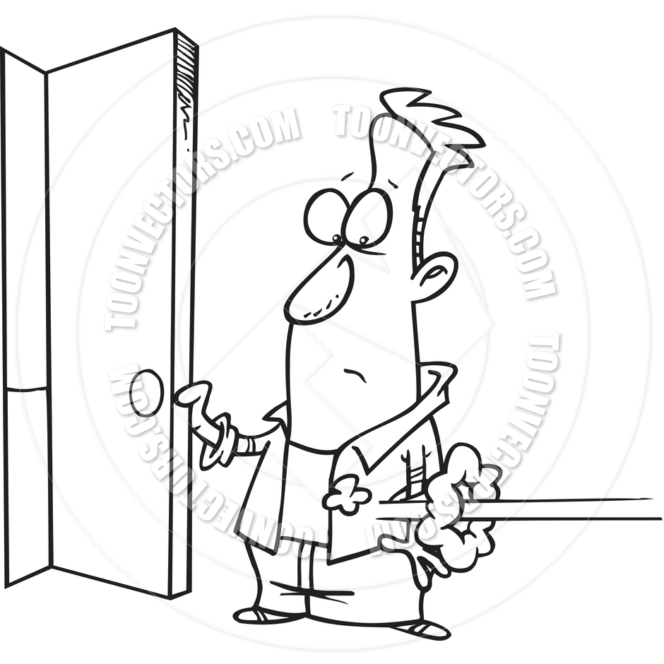 open door clipart black and white. 940x940 Cartoon Man Opening The Front Door (Black And White Line Art) By Open Clipart Black A