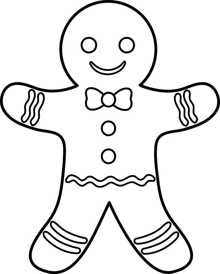736x916 Gingerbread Man To Draw Gingerbread Man Drawing Template