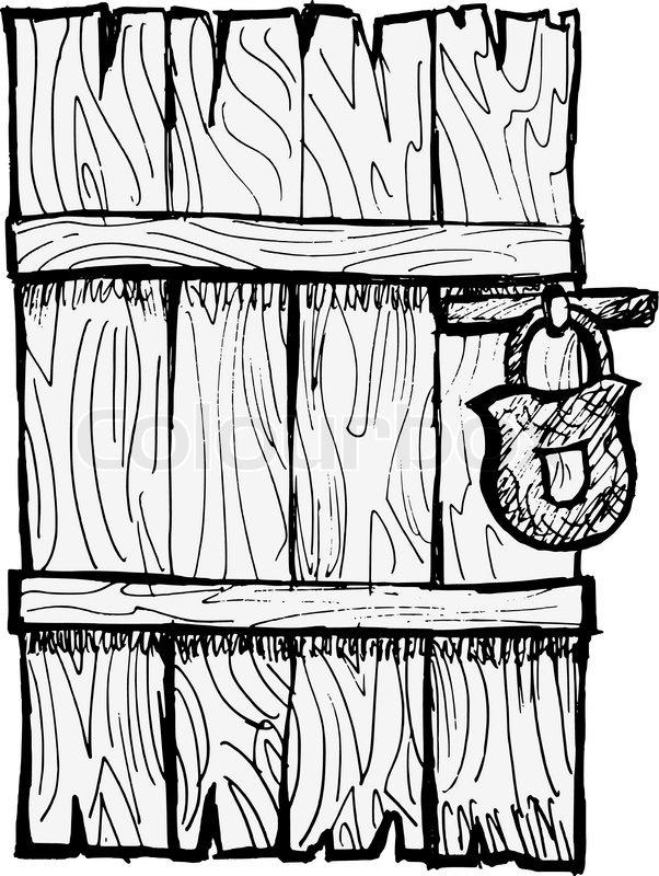 602x800 Old Wooden Door Stock Vector Colourbox
