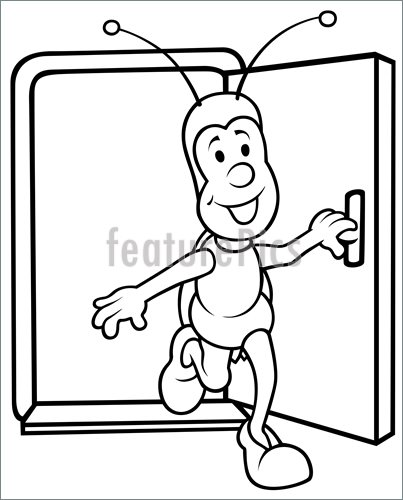403x500 Bug And Open Door Illustration