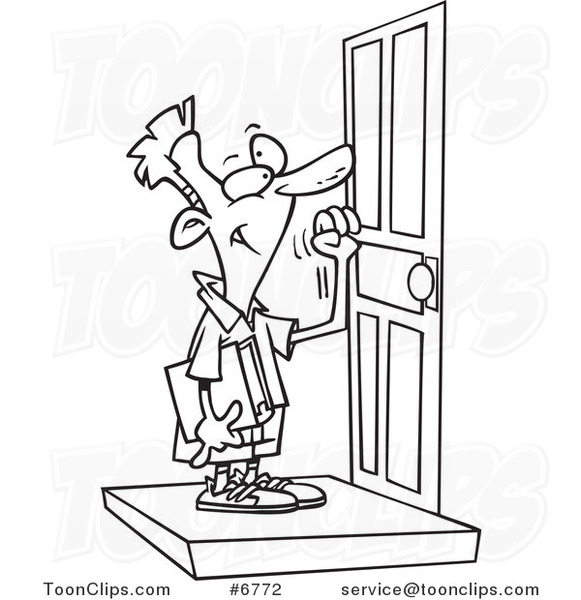 581x600 Cartoon Black And White Line Drawing Of A Boy Knocking On A Door