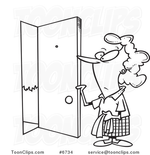 581x600 Cartoon Black And White Line Drawing Of A Lady Opening A Door
