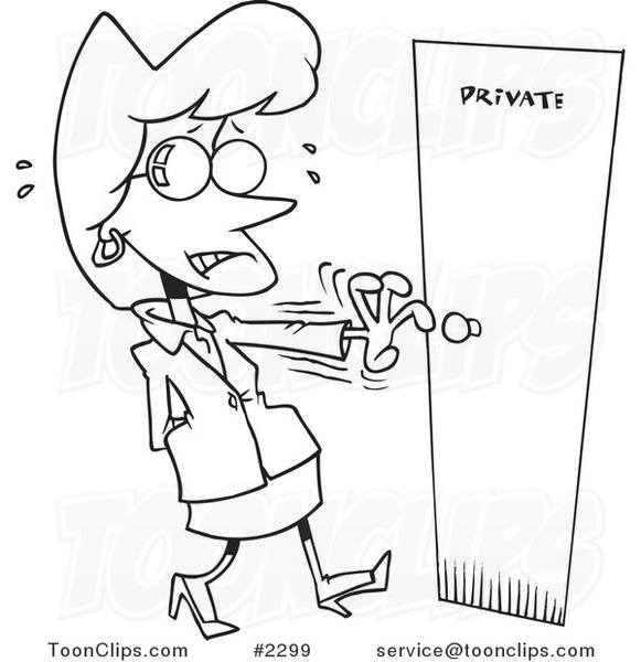 581x600 Cartoon Blacknd White Line Drawing Of Nervous Lady Opening