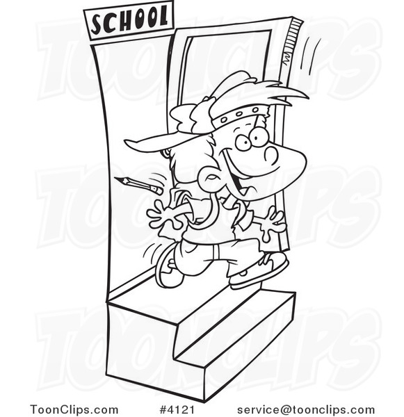581x600 Cartoon Black And White Line Drawing Of A School Boy Running Out