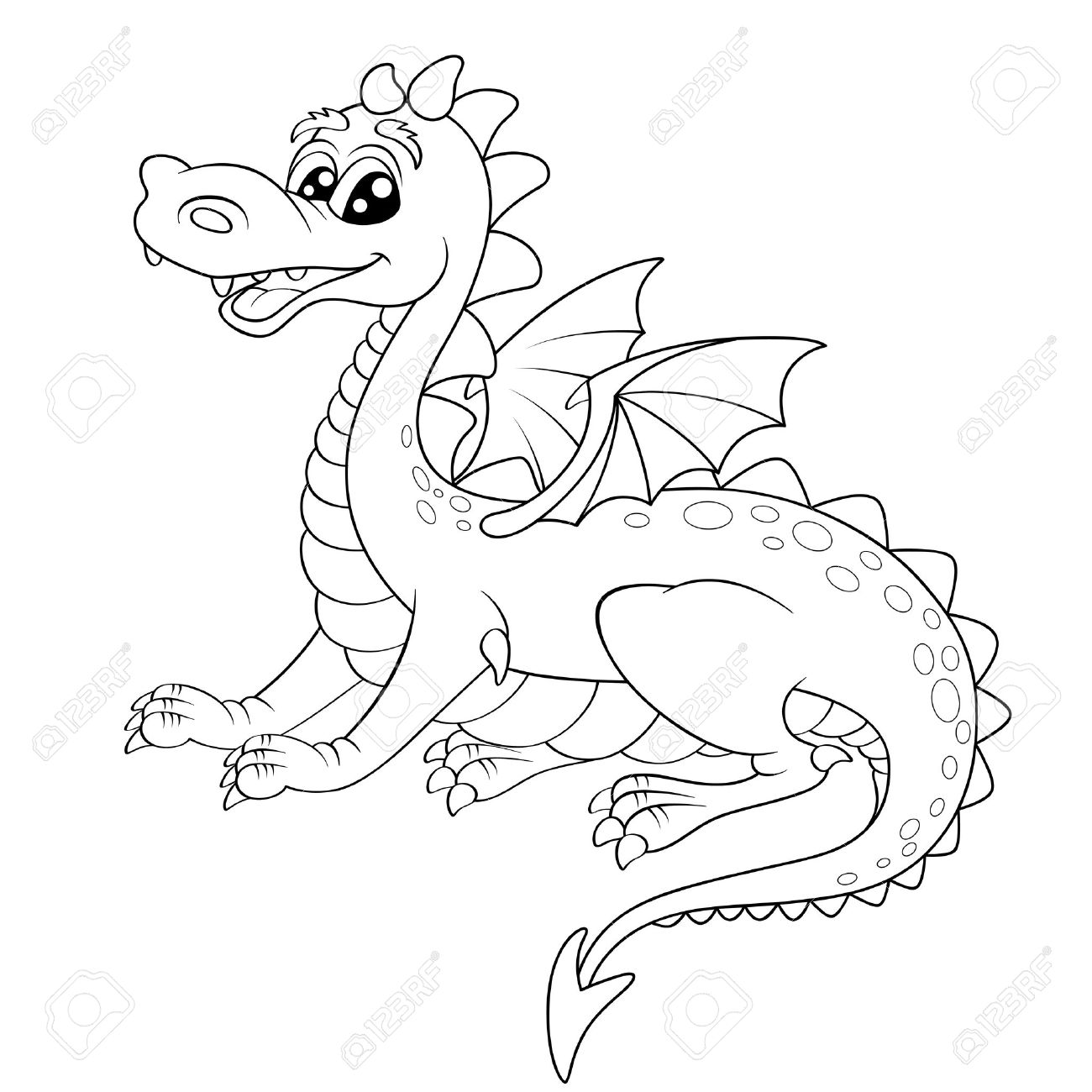 1300x1300 Cute Cartoon Dragon. Illustration For Coloring Book Royalty Free