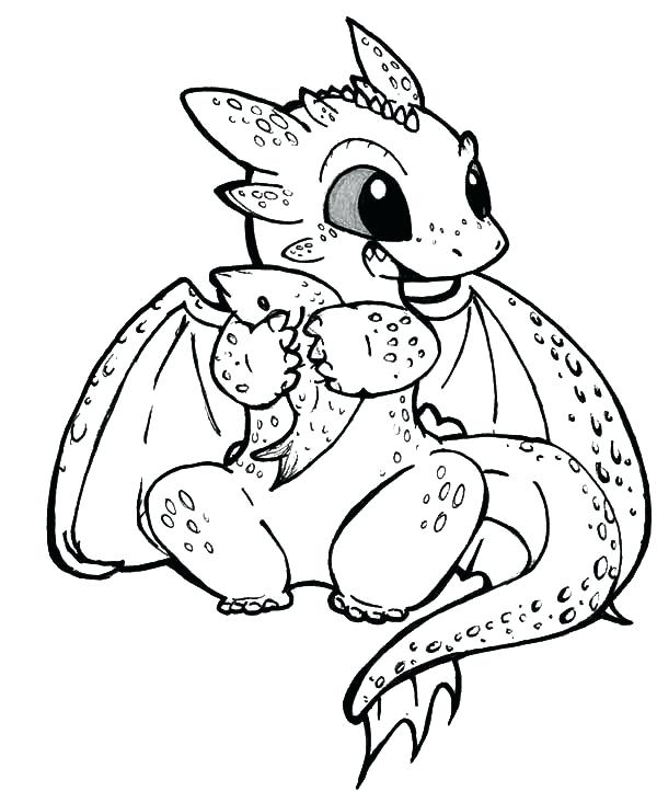 600x722 Cartoon Dragon Coloring Pages Toothless Eat Fish In How To Train