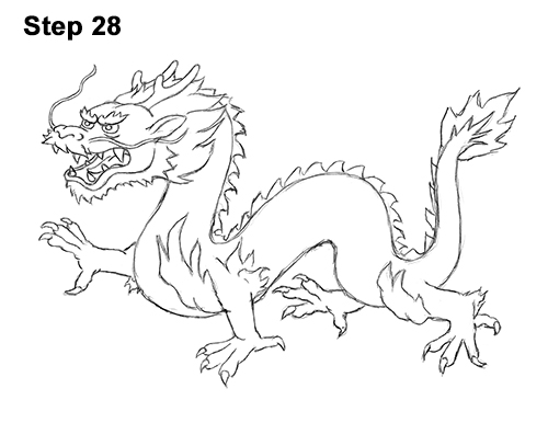 500x386 Drawn Chinese Dragon Cartoon