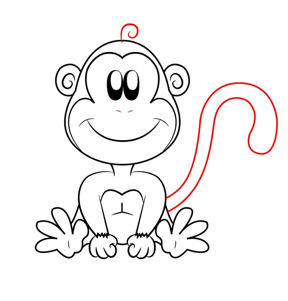 980x1024 How To Draw A Cartoon Monkey Online Drawing Lessons