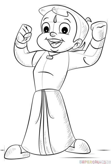 392x575 How To Draw Chhota Bheem Step By Step Drawing Tutorials