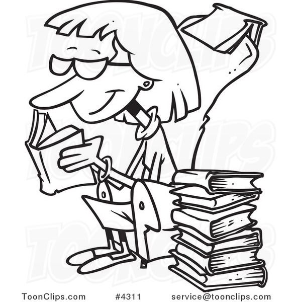 581x600 Cartoon Black And White Line Drawing Of A Senior Lady Reading