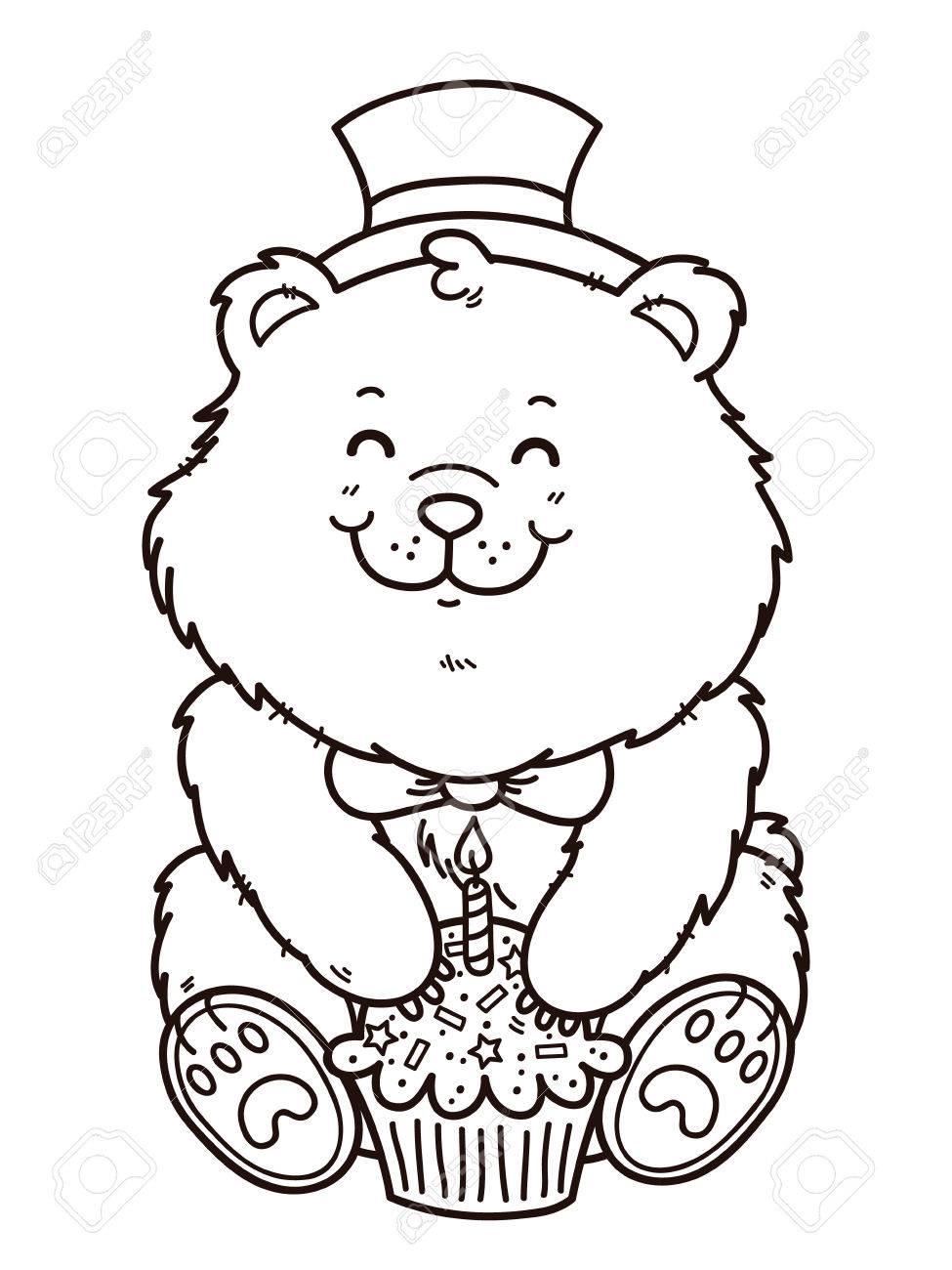 975x1300 Happy Birthday Bear. Vector Digital Stamp Of Cartoon Bear