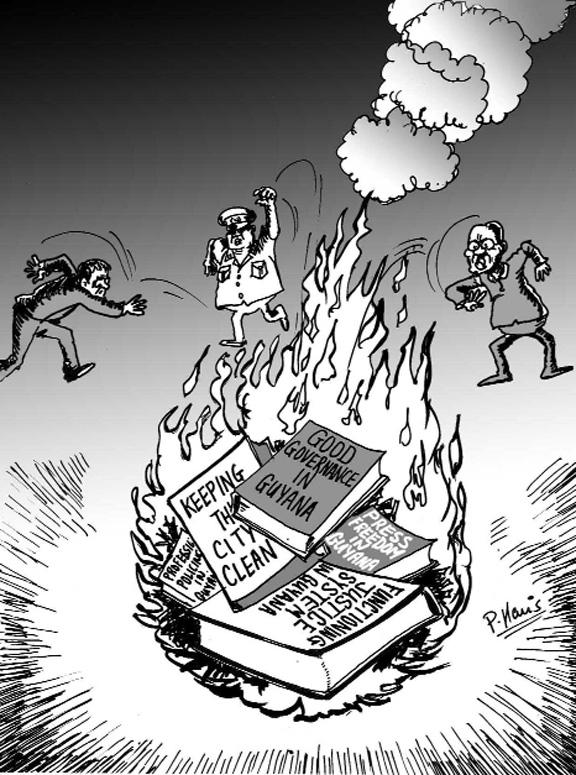 576x775 Sunday Cartoon Burning Books Stabroek News