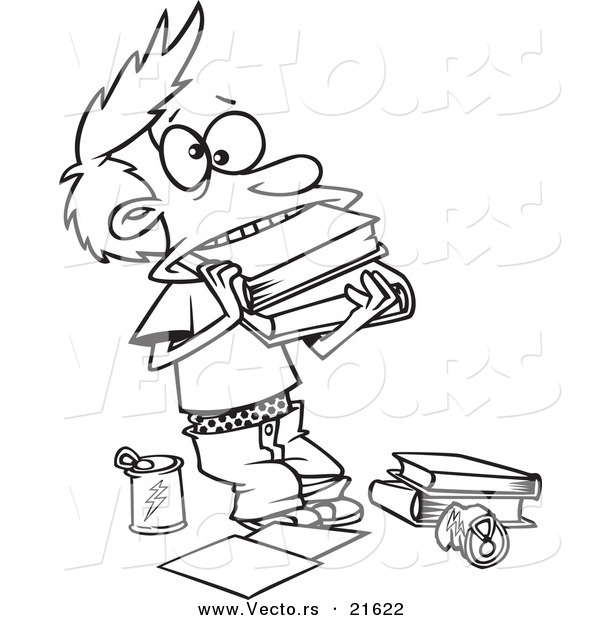 600x620 Vector Of A Cartoon Boy Cramming Books In His Mouth